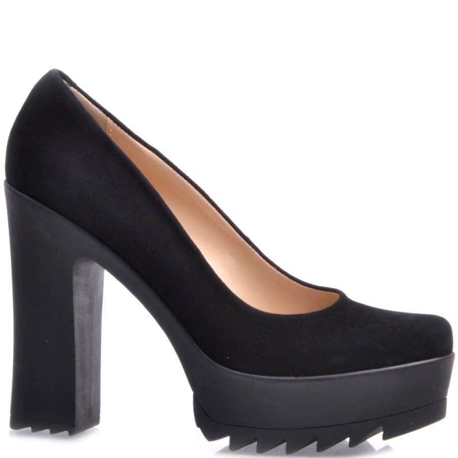 Туфли Prego замшевые черного цвета с высоким толстым каблуком и с высокой танкеткой в виде острых рельефов