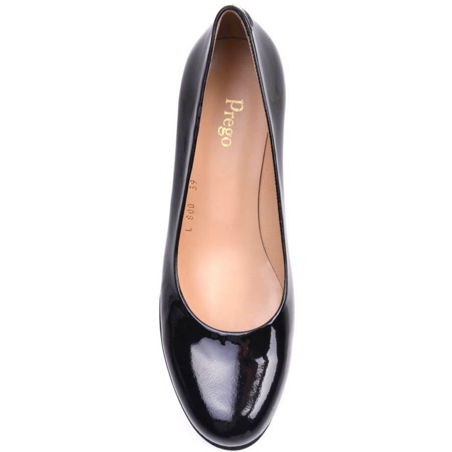 Туфли Prego лаковые на высокой рельефной танкетке черные