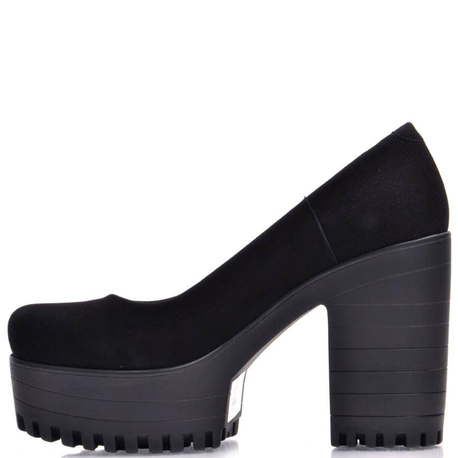 Туфли Prego замшевые черные на толстом каблуке и танкетке