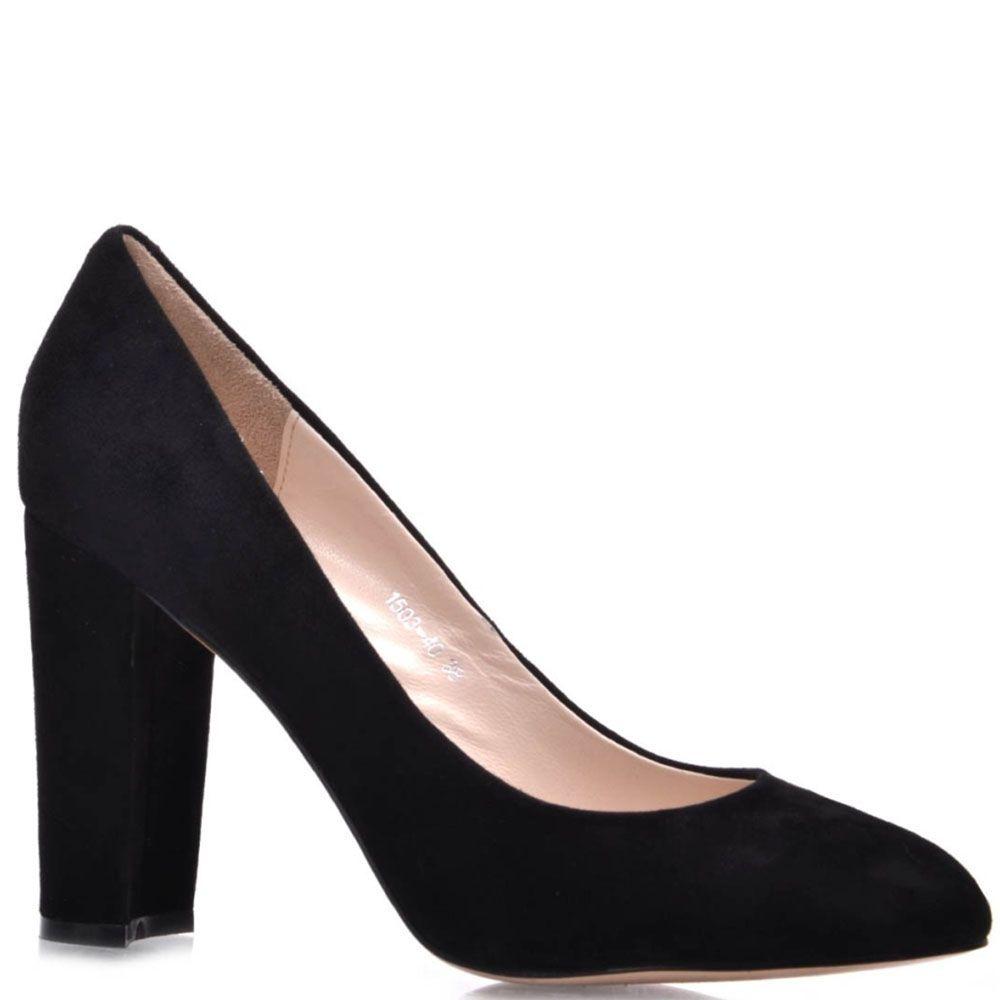 Замшевые туфли-лодочки Prego черного цвета на высоком каблуке