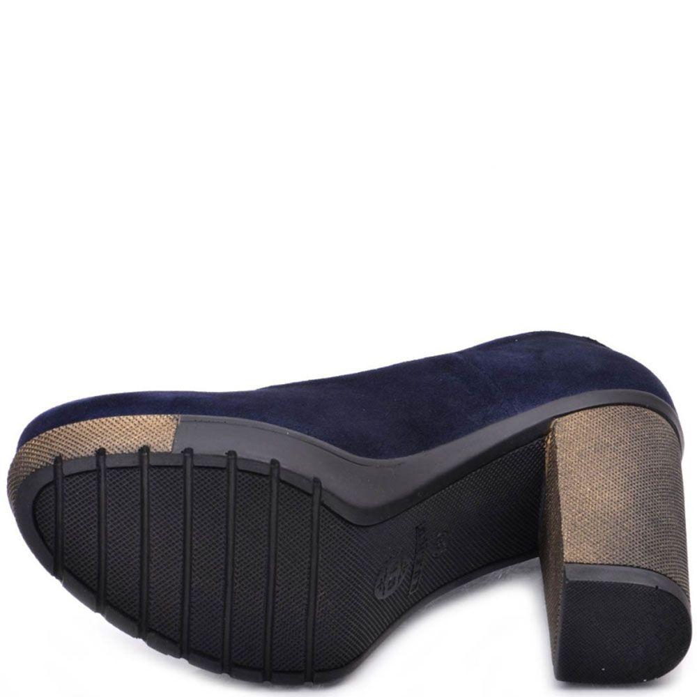 Туфли Prego из натуральной замши насыщено-синего цвета на высоком устойчивом каблуке
