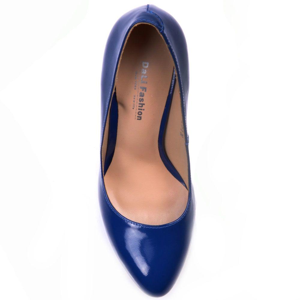 Туфли Prego из лаковой кожи синего цвета на платформе и высоком каблуке