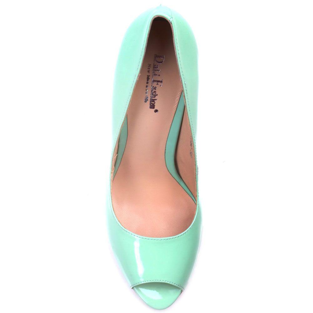 Лаковые туфли Prego из натуральной кожи мятного цвета с открытым носочком на шпильке