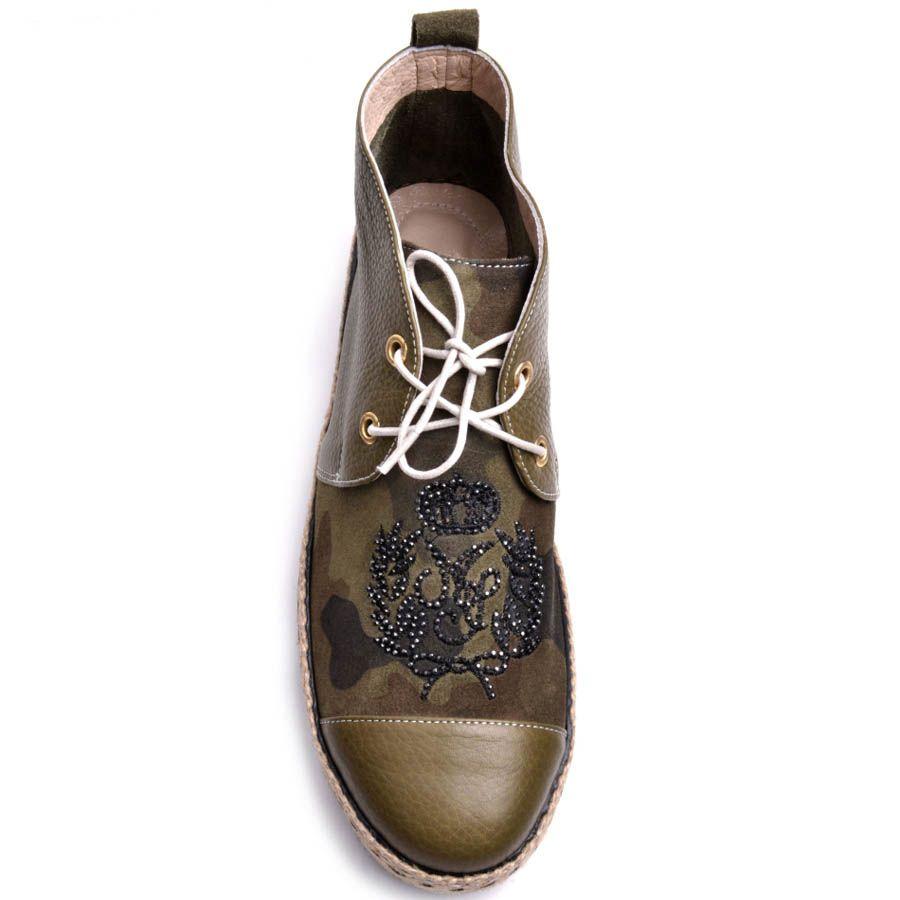 Ботинки Prego хаки с плетеной вставкой