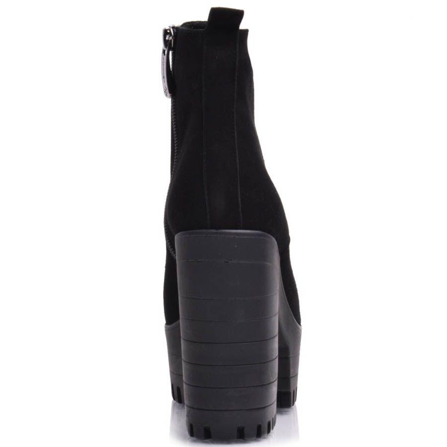 Ботильоны Prego черные замшевые на толстом каблуке