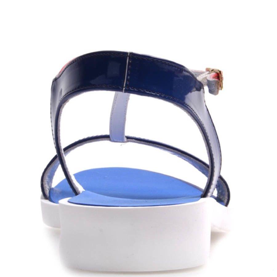 Сандалии Prego синие с красным на толстой белой подошве