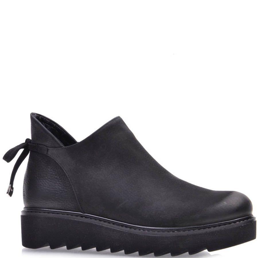 Ботинки Prego из черного нубука на завязках