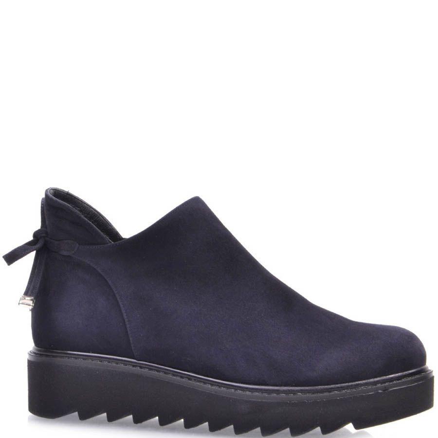 Ботинки Prego из синего нубука на завязках