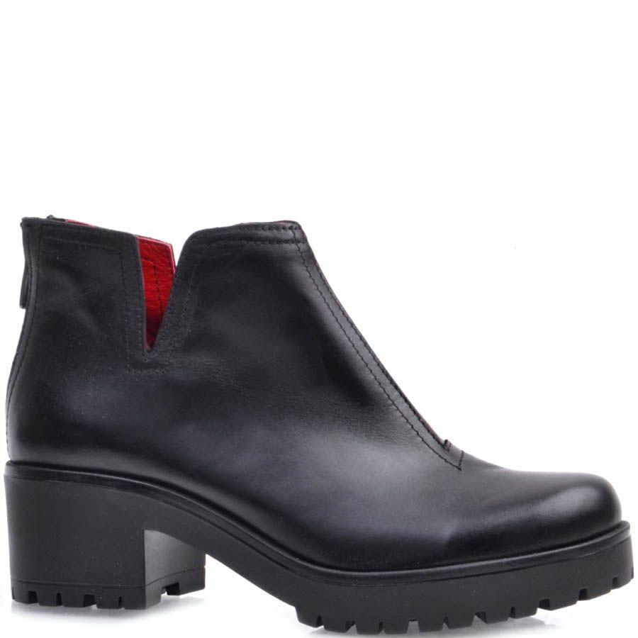 Ботинки Prego черного цвета кожаные с красной подкладкой