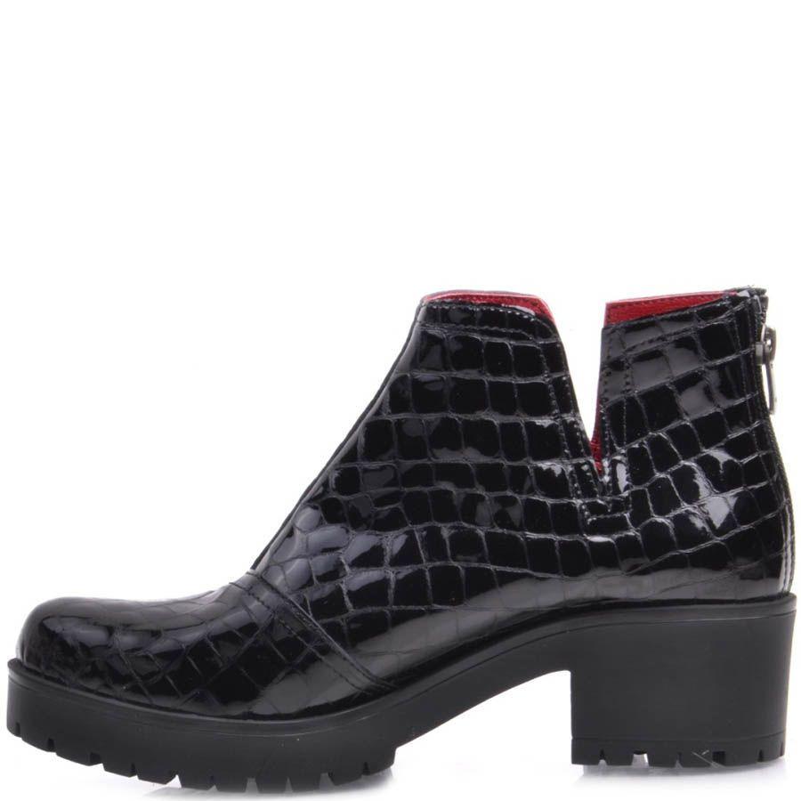 Ботинки Prego черного цвета лаковые кожаные с красной подкладкой