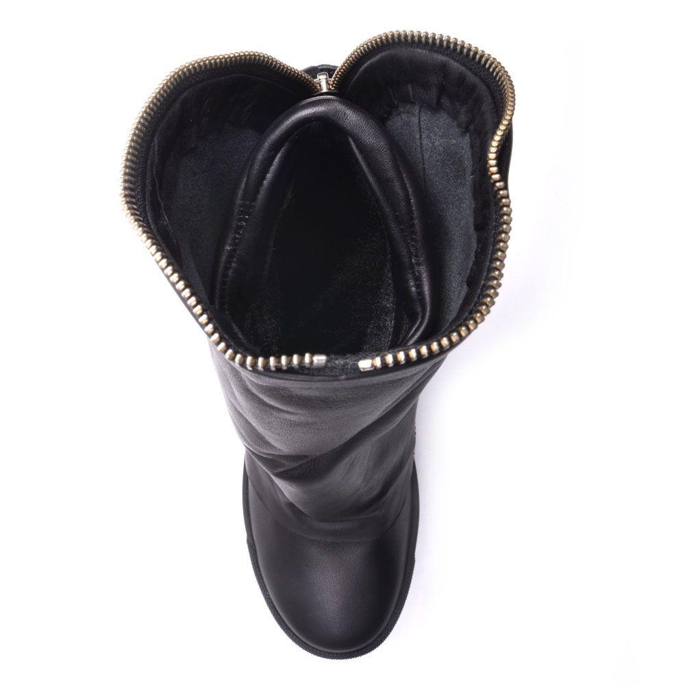 Ботинки Prego из гладкой кожи черного цвета на скрытой танкетке