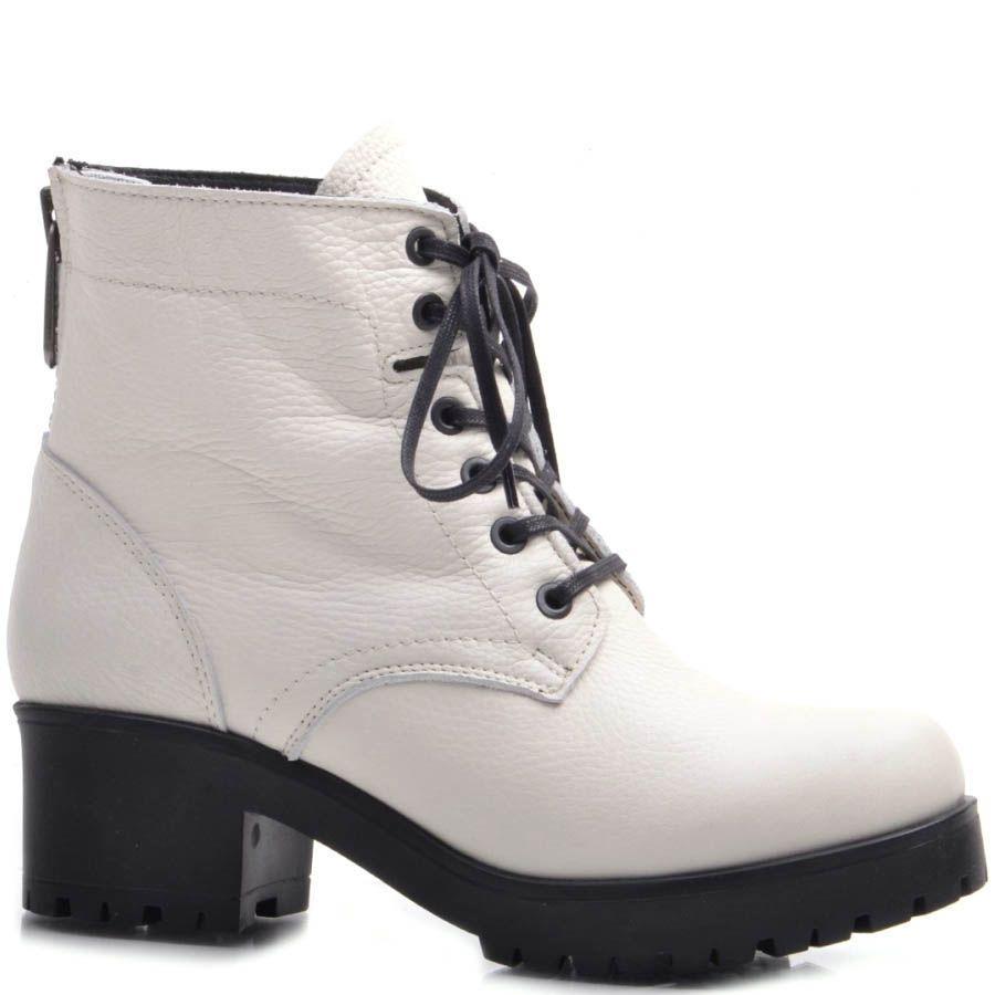 Ботинки Prego зимние кожаные белого цвета с черной подошвой