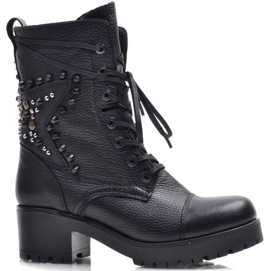 Ботинки Prego зимние из зернистой кожи на шнуровке с декором из заклепок в виде звезды