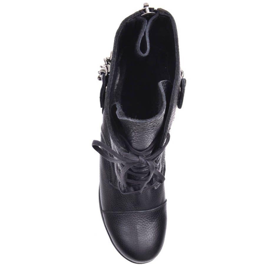 Ботинки Prego зимние черного цвета кожаные на шнуровке и с подвешенной цепочкой