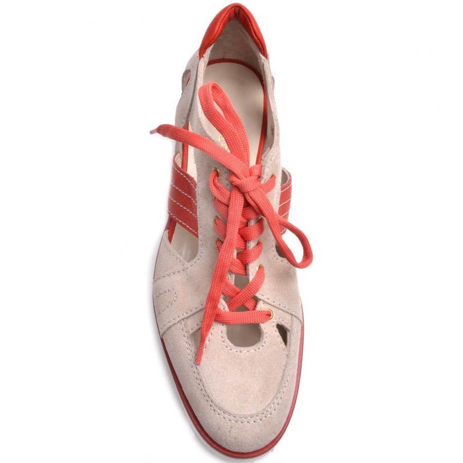 Ботинки Prego открытые бежевые замшевые со вставками кораллового цвета