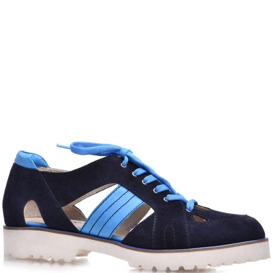 Ботинки Prego открытые синие замшевые со вставками голубого цвета
