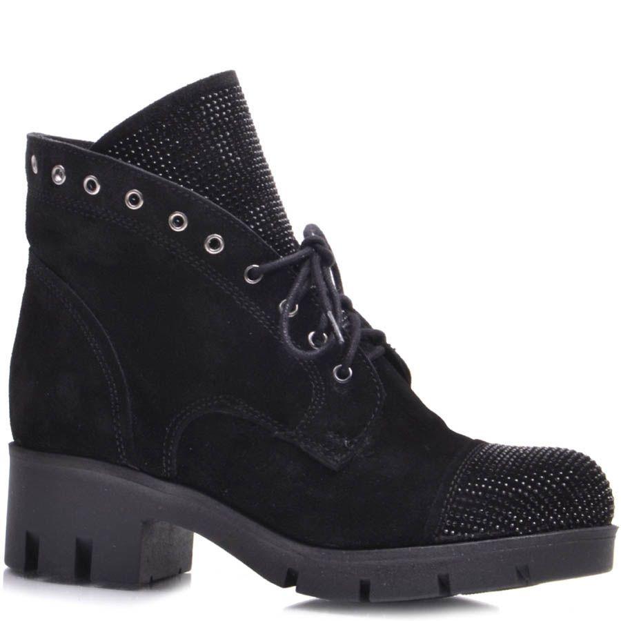 Ботинки Prego зимние черного цвета замшевые на шнуровке со стразиками на язычке и носочке