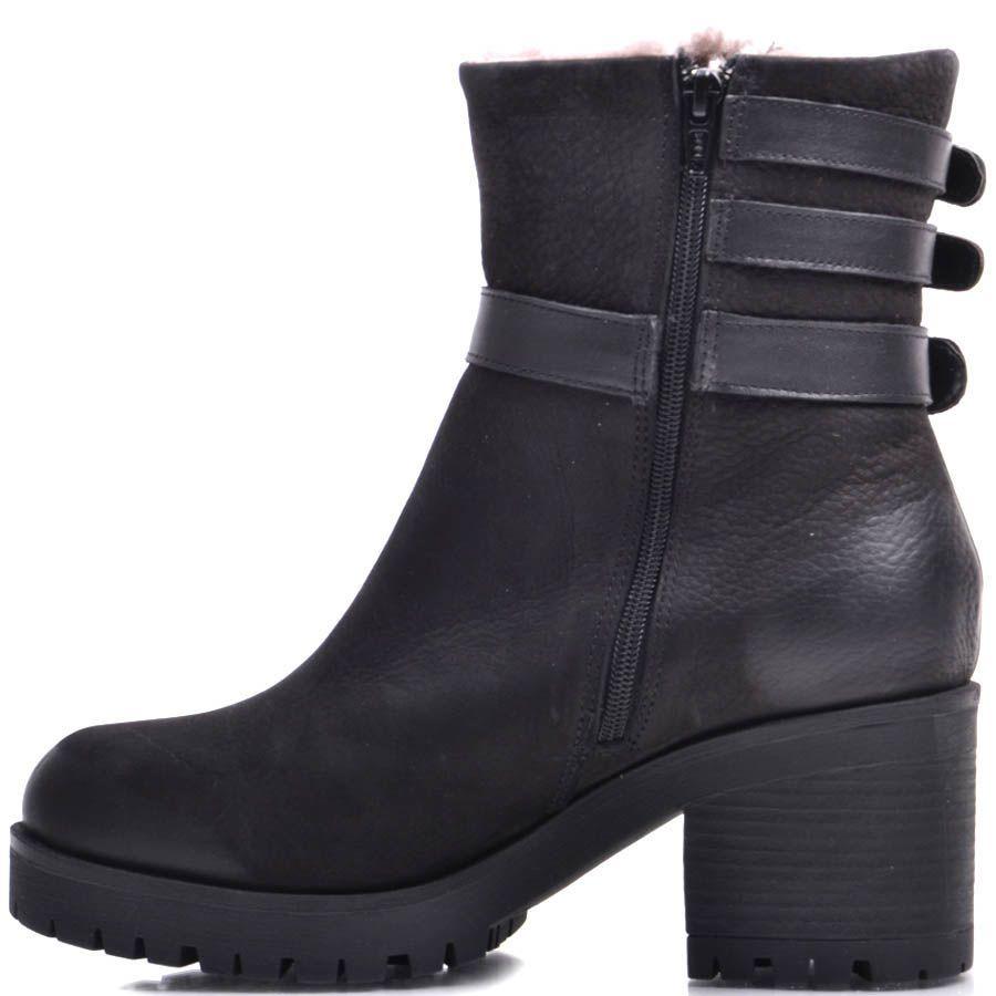 Ботинки Prego зимние черного цвета из нубука на меху с тремя пряжками и молнией