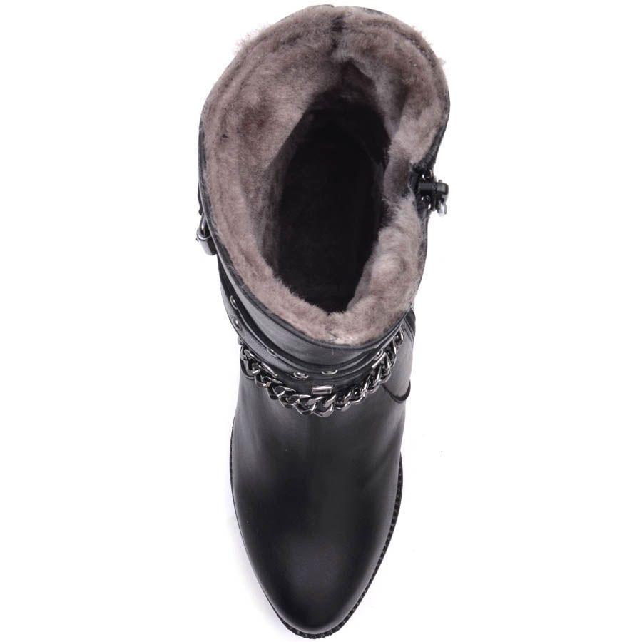 Ботинки Prego зимние черного цвета на меху с пряжкой в заклепки и цепочкой