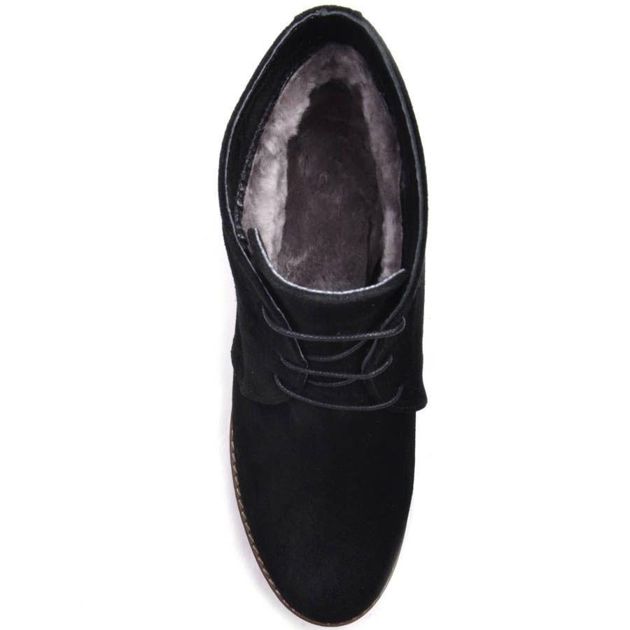 Ботинки Prego зимние замшевые черного цвета с коричневой танкеткой