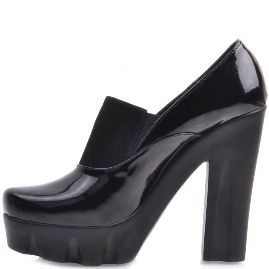 Туфли Prego черного цвета со вставкой-резинкой и толстым каблуком