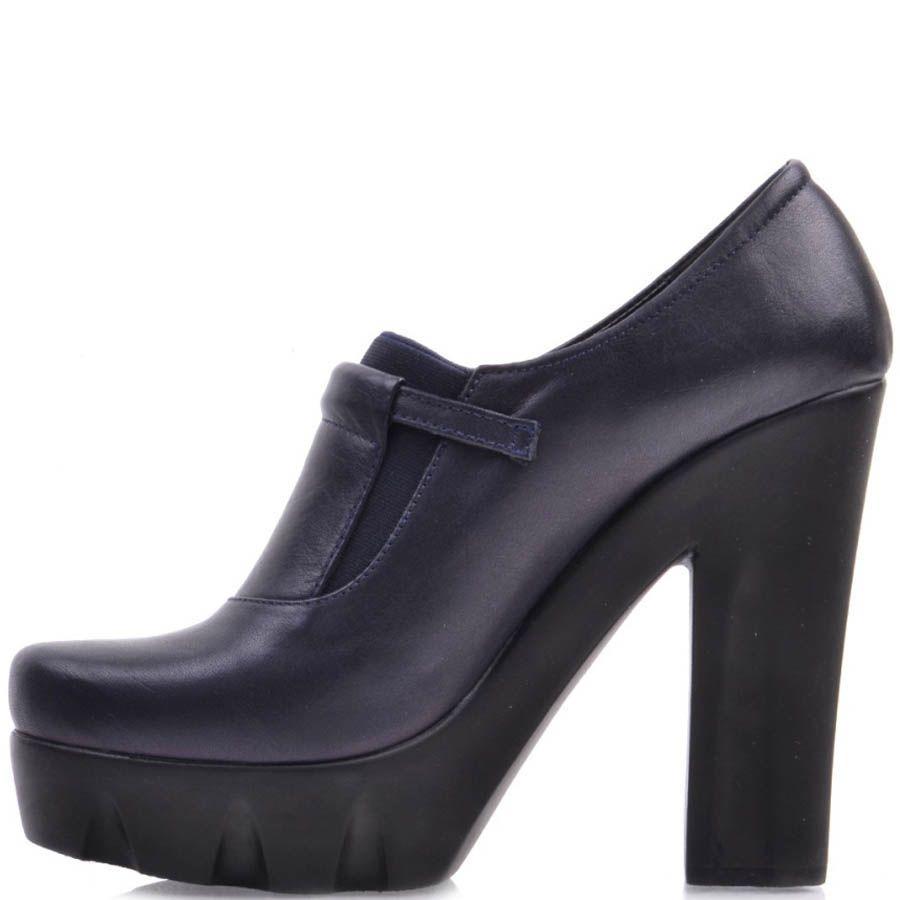 Туфли Prego синего цвета на толстом высоком каблуке и декором в виде золотистой пряжки