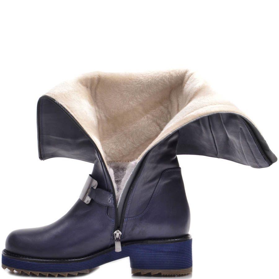 Сапоги Prego зимние синего цвета кожаные с металлической вставкой и синей подошвой