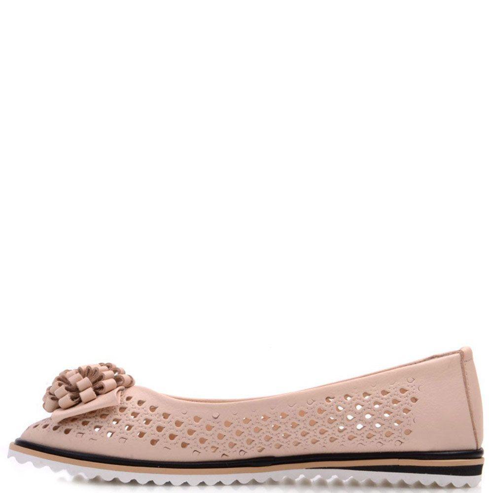 Кожаные туфли Prego бежевые со сквозной перфорацией