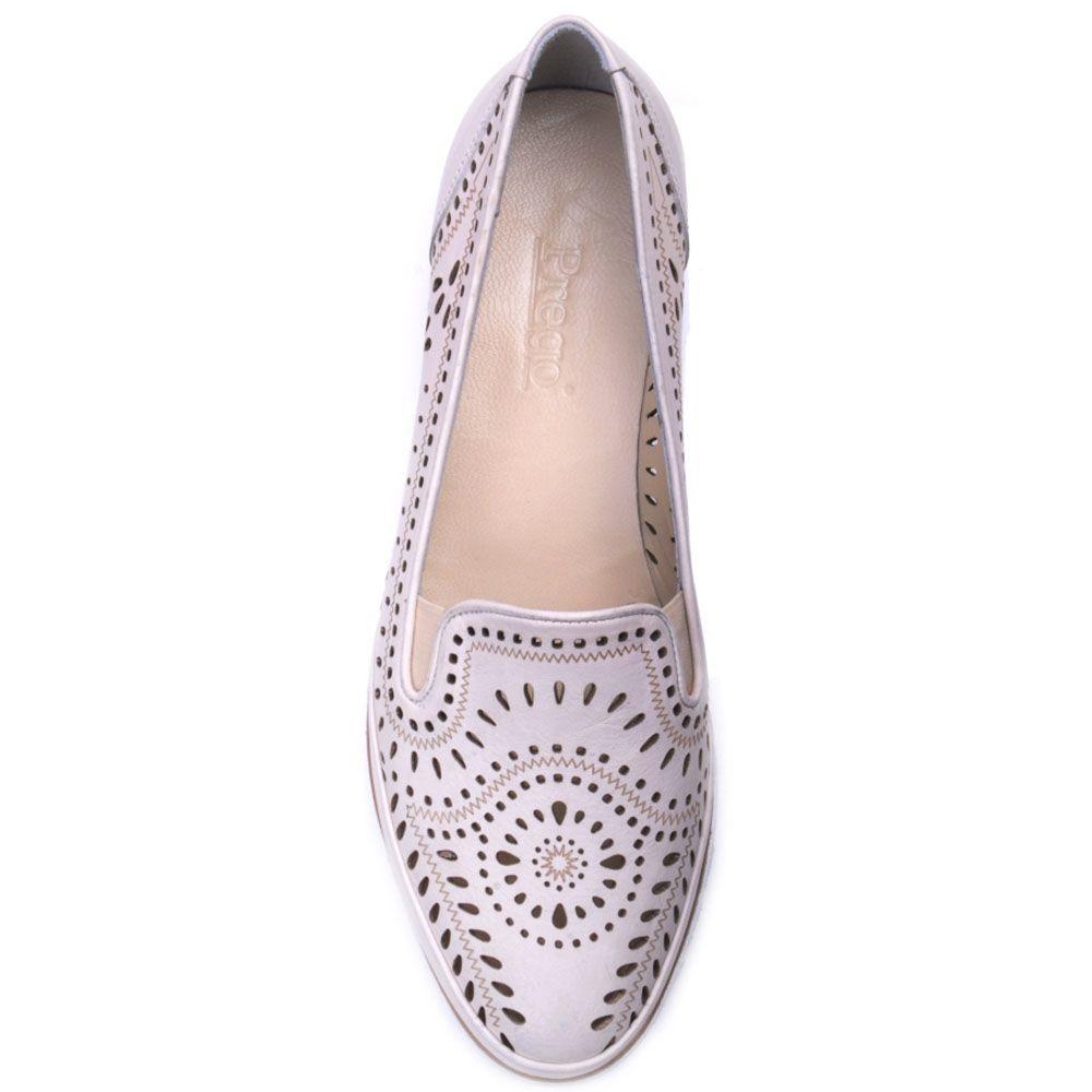 Туфли Prego из перфорированной кожи бежевого цвета