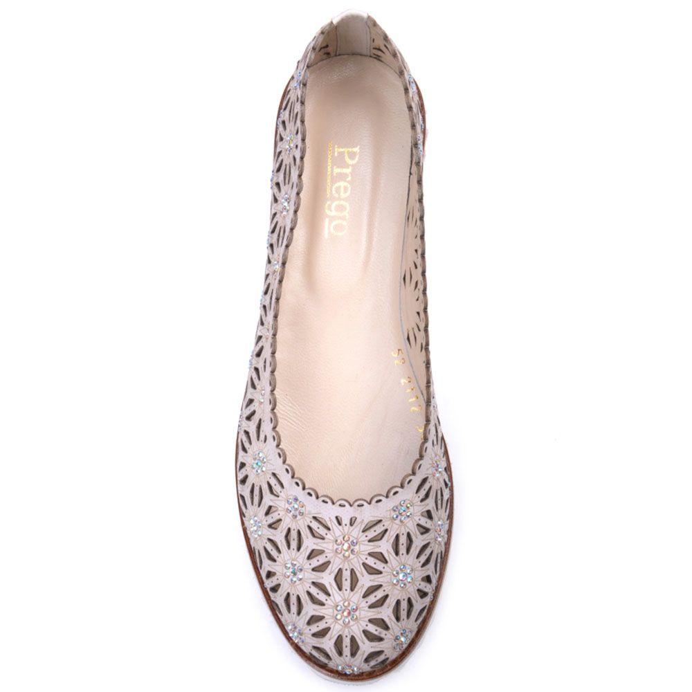 Туфли Prego из натуральной кожи бежевого цвета со сквозной перфорацией