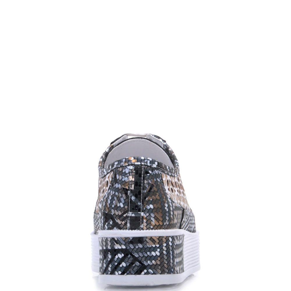 Кожаные кроссовки Prego с перфорацией и абстрактным принтом серого цвета