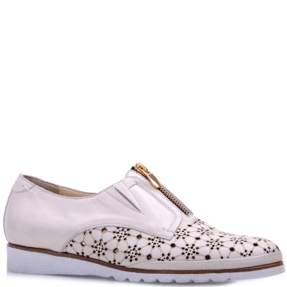 Туфли Prego из натуральной перфорированной кожи бежевого цвета с коричневой полосочкой вдоль подошвы