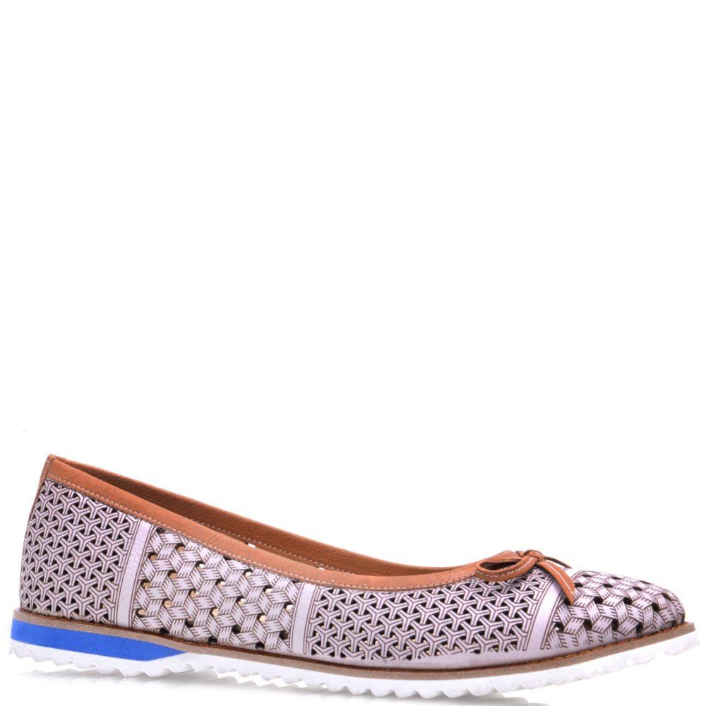 Туфли-балетки Prego из натуральной кожи коричневого цвета с перфорацией