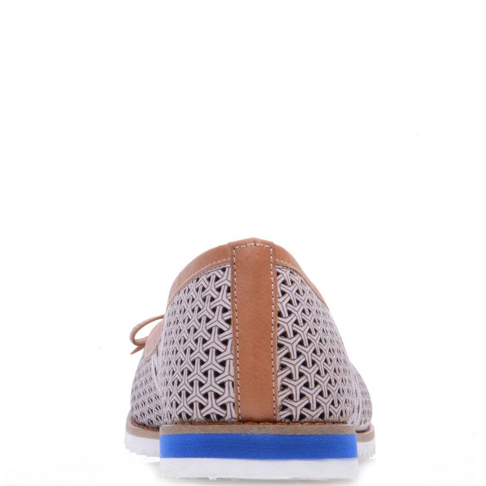 Туфли-балетки Prego из кожи коричневого цвета с перфорацией