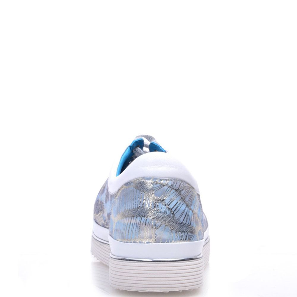 Кроссовки Prego из натуральной перфорированной кожи белого цвета с серебристым принтом