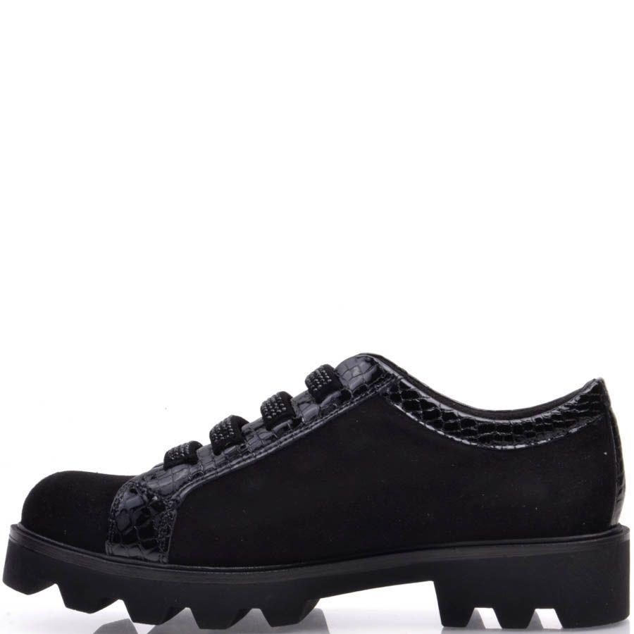 Ботинки Prego черные с зубчастой подошвой из замши и с вставками под кожу змеи