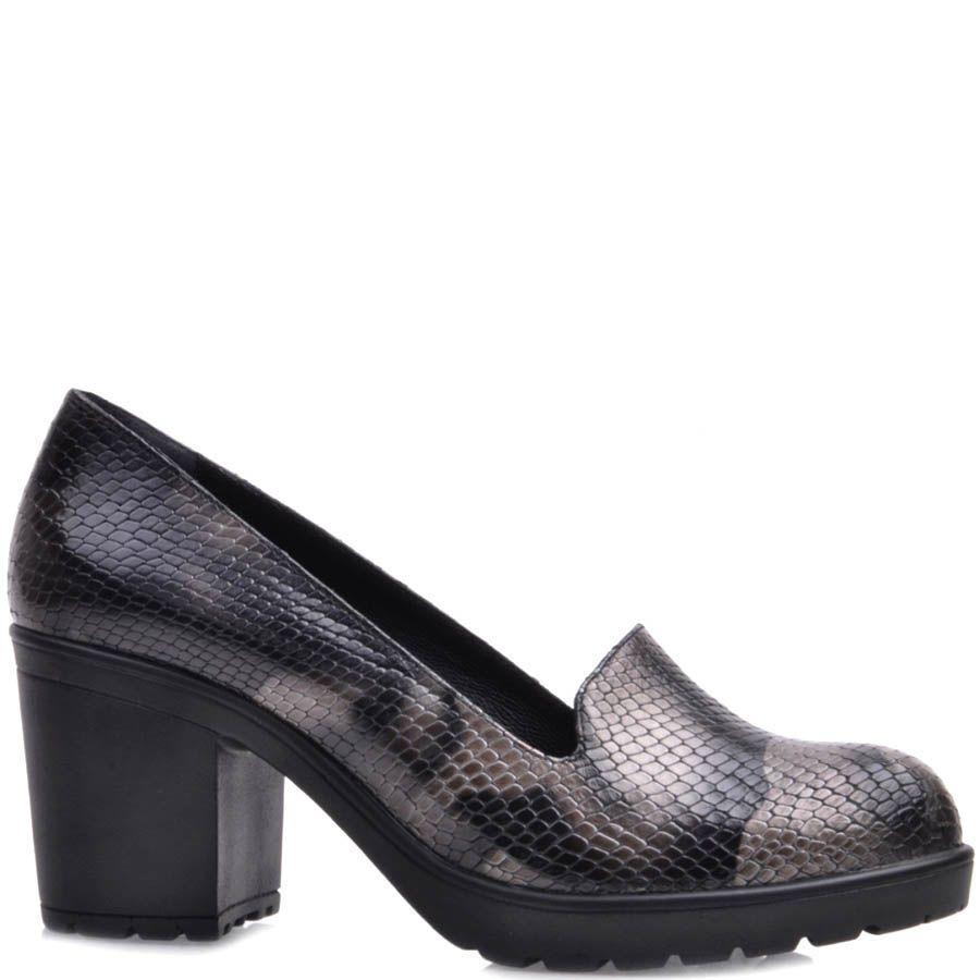 Туфли Prego на устойчивом каблуке из фактурной кожи под змею