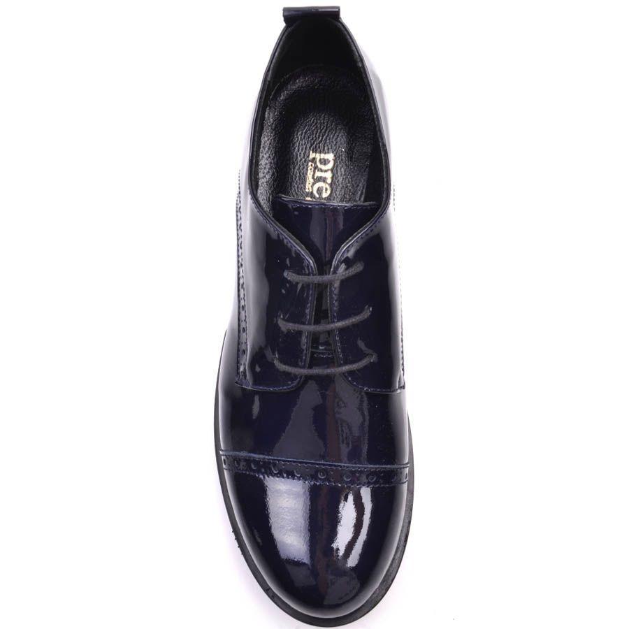 Ботинки Prego лаковые синего цвета с перфорироваными деталями