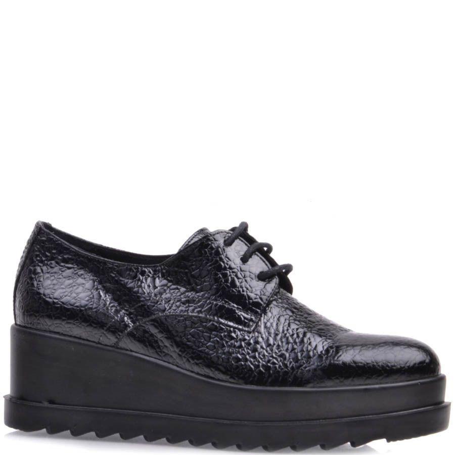 Ботинки Prego черного цвета лаковые из фактурной кожи