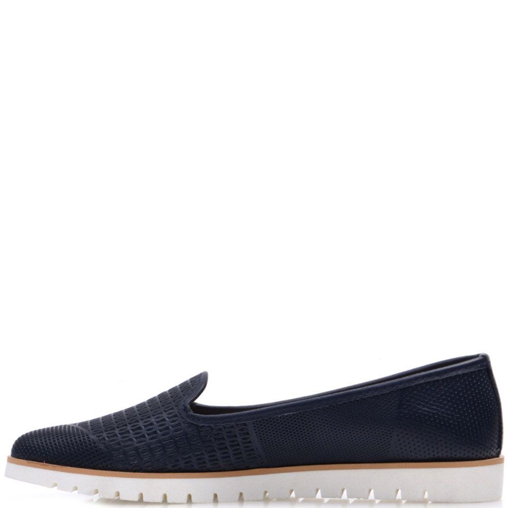 Туфли Prego из натуральной перфорированной кожи синего цвета с бежевой полосой вдоль подошвы
