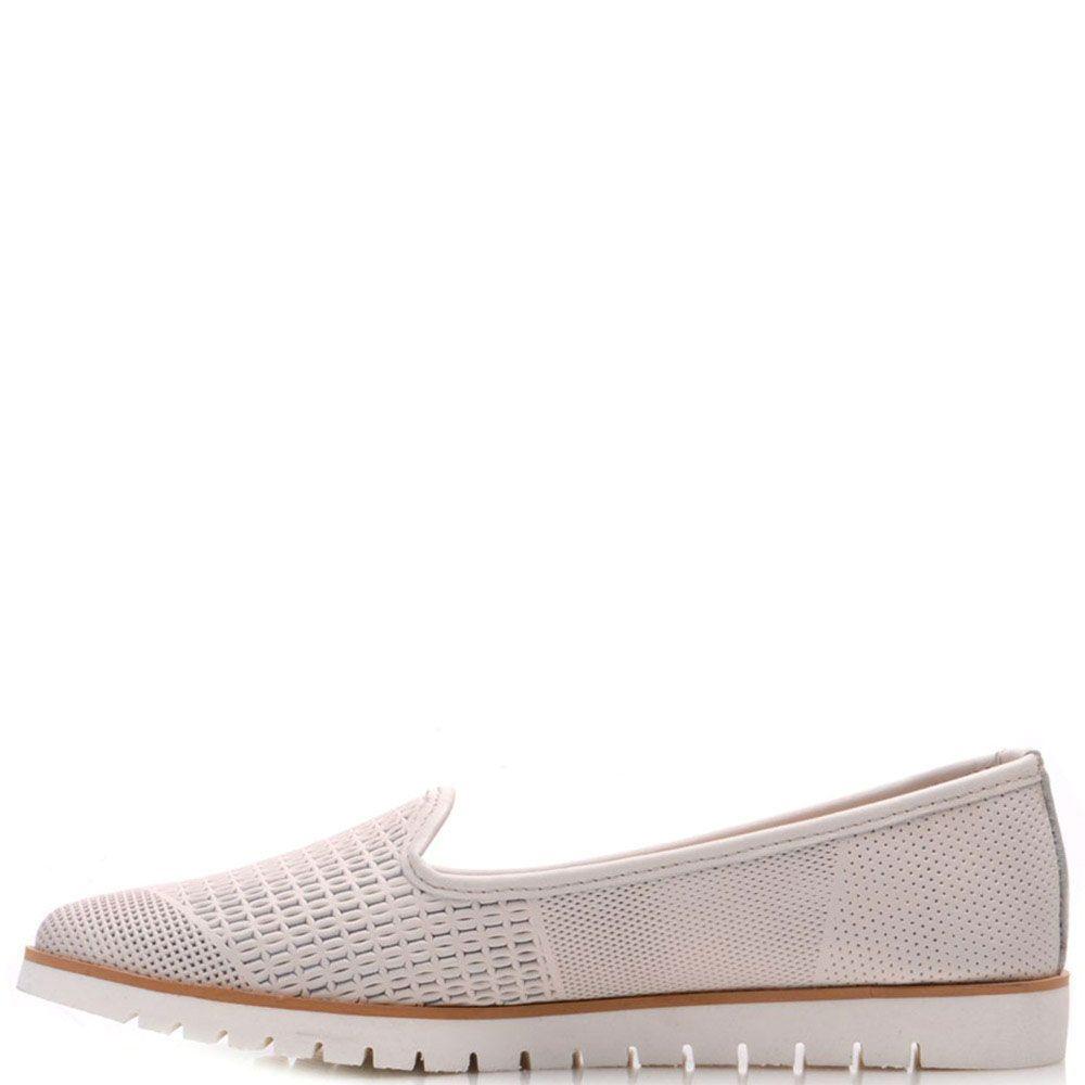 Кожаные туфли Prego кремового цвета с мелкой перфорацией