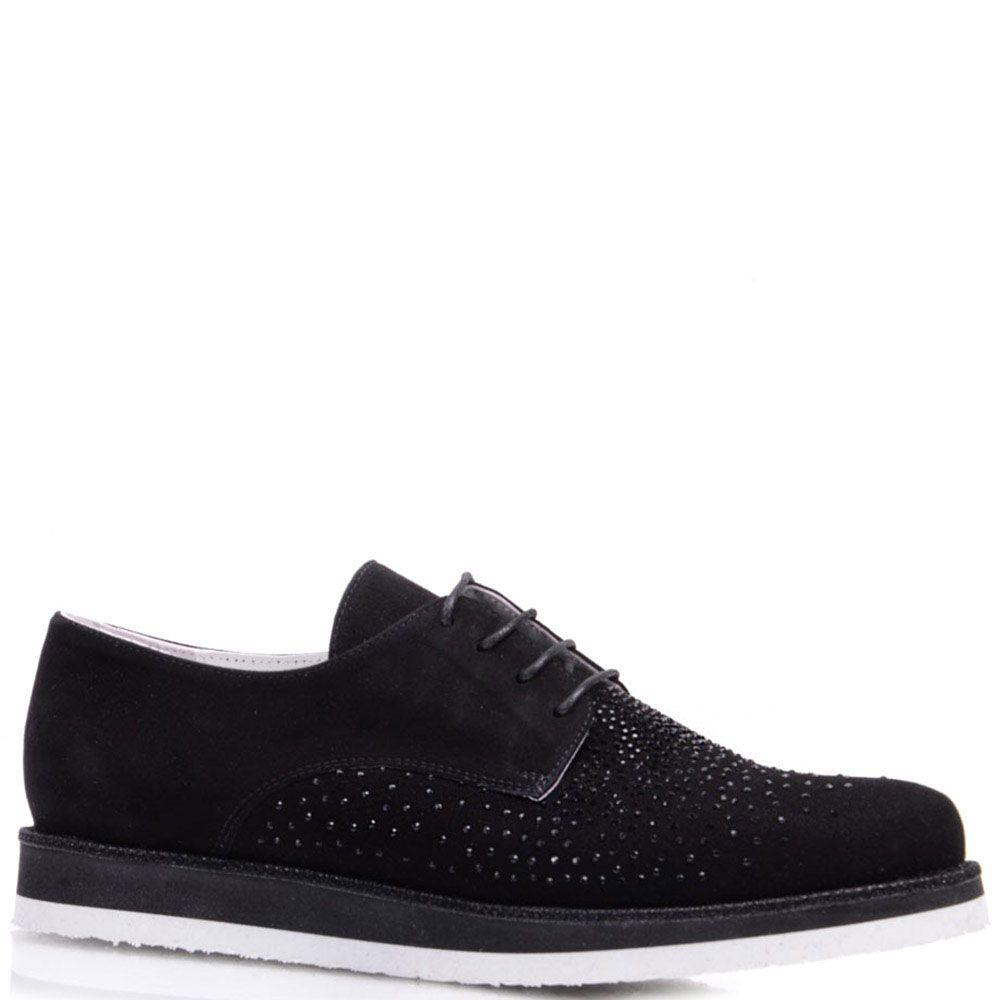 Замшевые туфли Prego черного цвета украшенные стразами