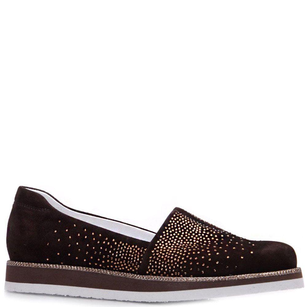 Туфли Prego из натуральной замши коричневого цвета со стразами