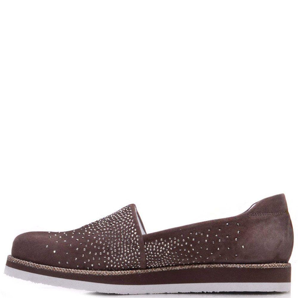 Туфли Prego из замши коричневого цвета с блестящими стразами и полосочкой вдоль подошвы
