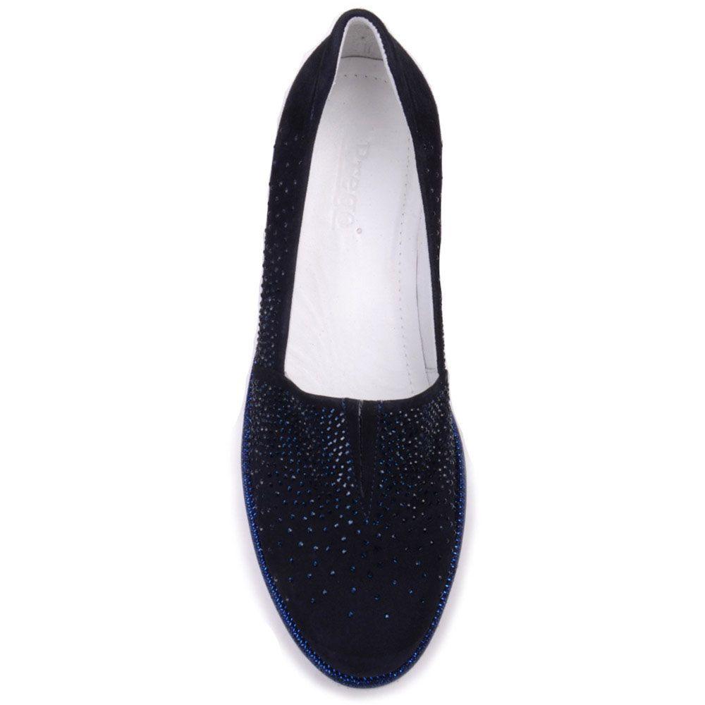 Замшевые туфли Prego синего цвета украшенные стразами