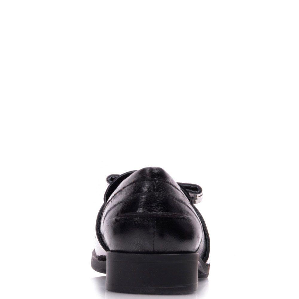 Лоферы Prego из натуральной кожи черного цвета с кисточками и металлическим бантиком