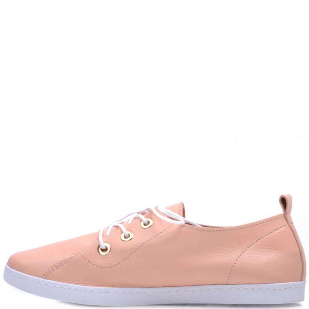 Кеды Prego из натуральной розовой кожи на шнуровке