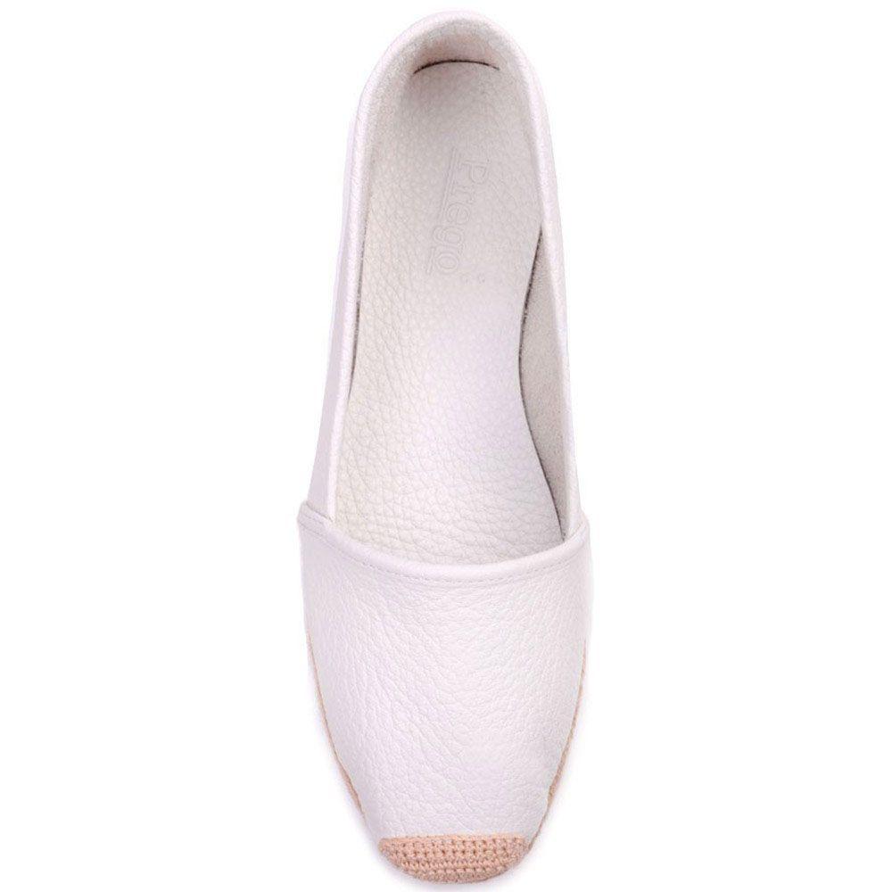 Эспадрильи Prego из натуральной белой кожи с плетеной подошвой