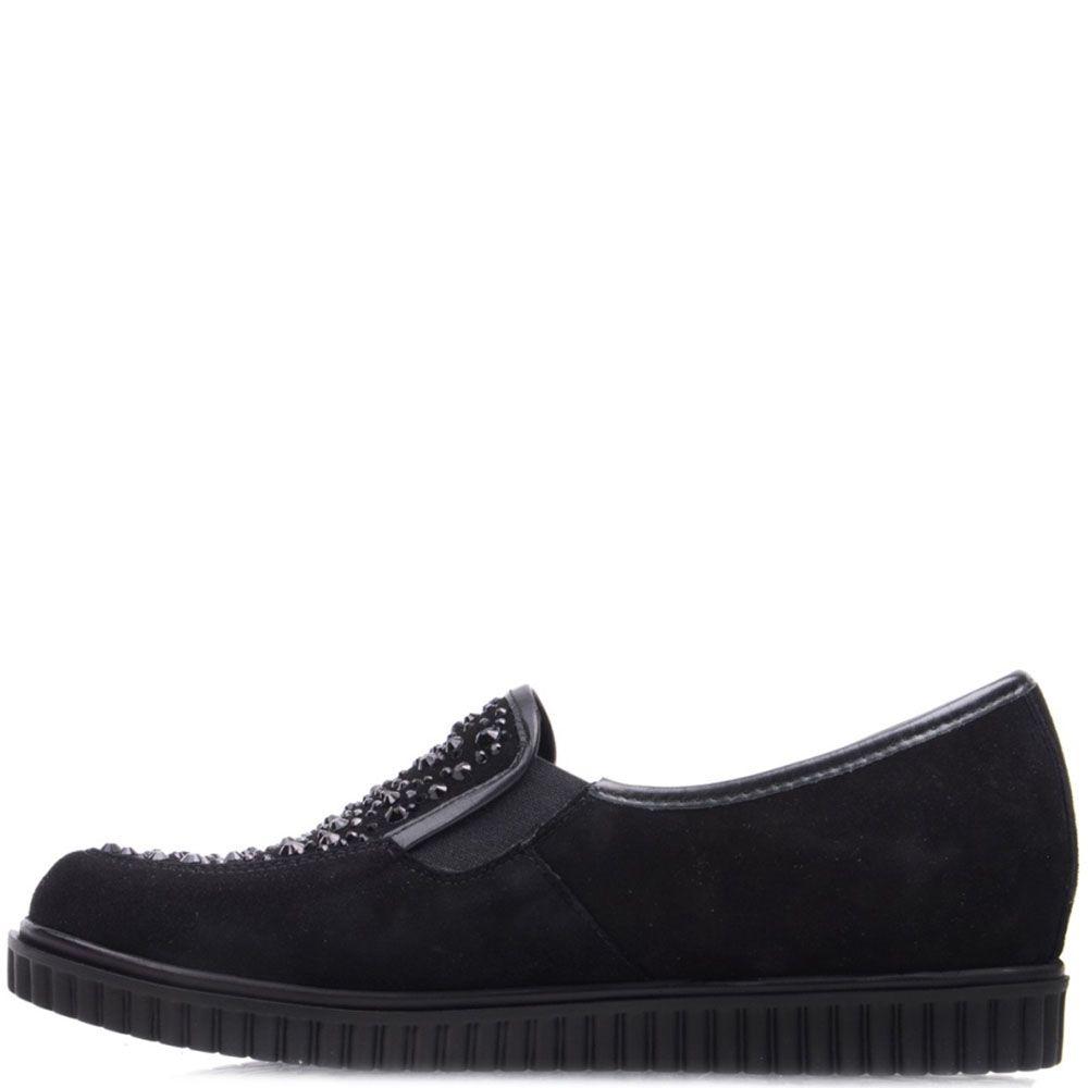 Туфли Prego из замши черного цвета украшенные разноцветными стразами