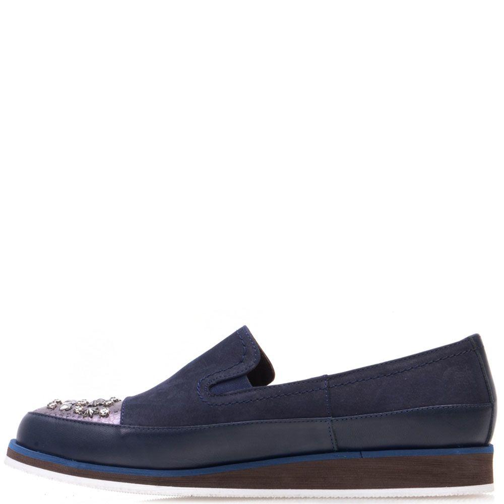 Туфли Prego из нубука синего цвета с шипами на носочке